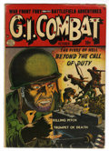 Golden Age (1938-1955):War, G.I. Combat #1 (Quality, 1952) Condition: GD+. Book has multiple worm holes. Reed Crandall and Charles Cuidera art. Overstre...