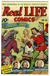 Real Life Comics #45 (Nedor Publications, 1948) Condition: VF+. Story of the Olympic Games. Burl Ives and Kit Carson sto...