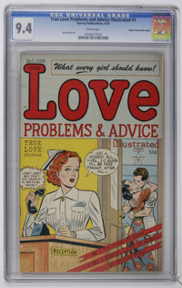 True Love Problems #1 Mile High pedigree (Harvey, 1949) CGC NM 9.4 White pages. Bob Powell art. Overstreet 2006 NM- 9.2...