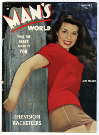 "Man's World (Lock Publishing, 1951) Condition: FN-. Jeri Miller photo cover. Features the articles ""Television Rack..."