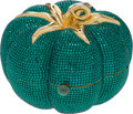 Luxury Accessories:Bags, Judith Leiber Full Bead Green Tomato Crystal Minaudiere EveningBag. ... (Total: 2 Items)
