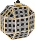 Luxury Accessories:Bags, Judith Leiber Full Bead Black & Silver Octagon CrystalMinaudiere Evening Bag. ... (Total: 2 Items)