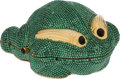 Luxury Accessories:Bags, Judith Leiber Full Bead Green Frog Crystal Minaudiere Evening Bag. ... (Total: 2 Items)