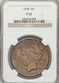 Peace Dollars: , 1928 $1 Fine 12 NGC. NGC Census: (9/5396). PCGS Population(3/7587). Mintage: 360,649. Numismedia Wsl. Price for problem fr...