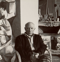 LEE MILLER (American, 1907-1977) Pablo Picasso, Cannes, 1958 Gelatin silver, estate printed 1984