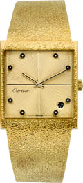 Timepieces:Wristwatch, Mathey Tissot Gent's Gold Bracelet Watch For Cartier, circa 1970's. ...