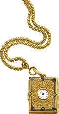 "Timepieces:Pocket (pre 1900) , Swiss Enamel & Gold ""Book"" Form Watch With Gold Neck Chain,circa 1860. ..."