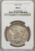 Peace Dollars: , 1925-S $1 MS61 NGC. NGC Census: (231/3802). PCGS Population(197/5240). Mintage: 1,610,000. Numismedia Wsl. Price for probl...