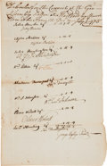 Autographs:Statesmen, Oliver Wolcott and Samuel Huntington Signed Debenture of the UpperHouse....