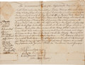 Autographs:Statesmen, [Revolutionary War]. Massachusetts Bay Council Document Signed byFourteen Council Members....