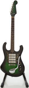 Musical Instruments:Electric Guitars, 1960's Teisco 4 Pickup Greenburst Solid Body Electric Guitar....