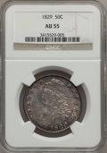 Bust Half Dollars: , 1829 50C Small Letters AU55 NGC. NGC Census: (138/482). PCGSPopulation (174/408). Mintage: 3,712,156. Numismedia Wsl. Pric...