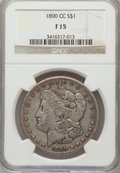 1890-CC $1 Fine 15 NGC. NGC Census: (45/5335). PCGS Population (97/9691). Mintage: 2,309,041. Numismedia Wsl. Price for...