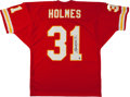 Football Collectibles:Uniforms, Priest Holmes Signed Kansas City Chiefs Jersey....