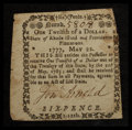 Colonial Notes:Rhode Island, Rhode Island May 22, 1777 $1/12 Very Fine.. ...