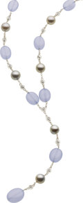 Estate Jewelry:Necklaces, Chalcedony, Cultured Pearl, Diamond, White Gold Necklace. ...