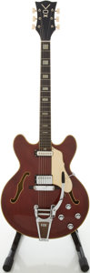 Musical Instruments:Electric Guitars, 1960's Vox Super Lynx Cherry Semi-Hollow Body Electric Guitar,#281663....