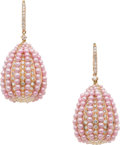 Estate Jewelry:Earrings, Cultured Pearl, Diamond, Pink Gold Earrings. ...
