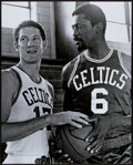 Basketball Collectibles:Photos, Bill Russell and John Havlicek Signed Oversized Photograph....