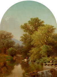 ALBERT FITCH BELLOWS (American, 1829-1883) River Landscape Oil on canvas 12 x 9 inches (30.5 x 22