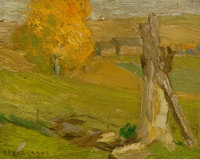 BRUCE CRANE (American, 1857-1937) Autumn Landscape Oil on panel 6 x 7-1/2 inches (15.2 x 19.1 cm)