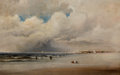 Fine Art - Painting, American:Antique  (Pre 1900), JAMES HAMILTON (American, 1819-1878). Beach Scene withDramatic Sky. Oil on canvas. 13-3/4 x 21-3/4 inches (34.9 x5...