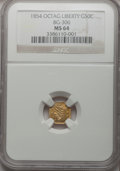 California Fractional Gold: , 1854 50C Liberty Octagonal 50 Cents, BG-306, R.4, MS64 NGC. NGCCensus: (5/0). PCGS Population (13/7). (#10426)...