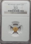 California Fractional Gold: , 1873 25C Liberty Round 25 Cents, BG-817, R.3, MS64 NGC. NGC Census:(13/11). PCGS Population (47/23). (#10678)...
