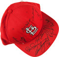 Baseball Collectibles:Hats, St. Louis Cardinals Multi Signed Cap....