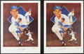 Baseball Collectibles:Others, Sandy Koufax Signed Lithographs Lot of 2....