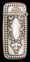 Silver Smalls:Match Safes, AN AMERICAN SILVER MATCH SAFE . Maker unknown, American, circa1900. Marks: STERLING . 2-3/8 inches high (5.9 cm). .4 tr...