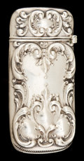 Silver Smalls:Match Safes, A WOOD & HUGHES SILVER MATCH SAFE . Wood & Hughes, NewYork, New York, circa 1900. Marks: W&H, STERLING . 2-1/2inches h...