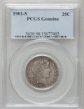 Barber Quarters, 1901-S 25C -- Damage -- Genuine PCGS. This PCGS number ending in 98suggests Damage as the reason, or perhaps one of the re...