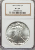 Modern Bullion Coins, 1986 $1 Set of Twenty Silver Eagle MS69 NGC. This set includes:1986 through 2005. NGC Census: (89328/1105). PCGS Populatio...(Total: 20 coins)