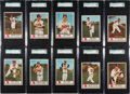 Baseball Cards:Sets, 1955 Johnston Cookies Milwaukee Braves SGC Graded Partial Set (17). ...