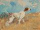 FRANK B. HOFFMAN (American, 1888-1958) English Setter on Watch Oil on artists' board 12 x 16 inches (30.5 x 40.6 cm)