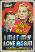 "Movie Posters:Romance, I Met My Love Again (United Artists, 1938). Other Company One Sheet (27"" X 41""). Romance.. ..."