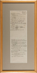 """Books:Manuscripts, William Everson. Manuscript Poem Entitled, """"The Warehouse Libby's"""".[N.p.]: Oct. 20, 1941. Thirty-eight lines of manuscrip..."""