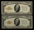 Small Size:Gold Certificates, Fr. 2400 $10 1928 Gold Certificates. Two Examples. Very Fine.. ... (Total: 2 notes)