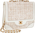 Luxury Accessories:Bags, Heritage Vintage: Chanel Fantasy Tweed Tall Single Flap Bag withWhite Leather Trim. ...