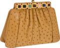 Luxury Accessories:Accessories, Judith Leiber Tan Ostrich Clutch with Multicolor Cabochon Closure and Shoulder Strap. ... (Total: 2 Items)