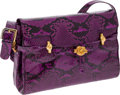 Luxury Accessories:Bags, Judith Leiber Purple Python Shoulder Bag with Gold Details. ...(Total: 2 Items)