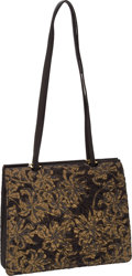 Luxury Accessories:Bags, Judith Leiber Embroidered Shoulder Bag with Black Leather Trim andAccordion Base. ... (Total: 2 Items)