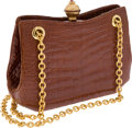 Luxury Accessories:Bags, Judith Leiber Vintage Brown Shiny Alligator Bag with Gold ChainStraps. ... (Total: 2 Items)