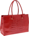 Luxury Accessories:Bags, Judith Leiber Bright Red Shiny Crocodile Large Shoulder Tote . ...(Total: 2 Items)