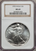 Modern Bullion Coins: , 1993 $1 Silver Eagle MS69 NGC. NGC Census: (86574/118). PCGSPopulation (3311/0). Mintage: 6,763,762. Numismedia Wsl. Price...