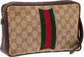 Luxury Accessories:Accessories, Heritage Vintage: Gucci Classic Monogram Canvas Early AccessoriesPochette Wristlet Bag with Signature Stripe. ...