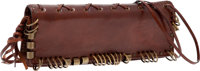Heritage Vintage: Yves Saint Laurent Tobacco Aged Leather Rare Clutch with Whipstitch and Ring Details and Shoulder Stra...