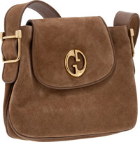 Heritage Vintage: Gucci Light Beige Suede '1973 Collection' Shoulder Bag with Double G Detail