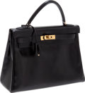Luxury Accessories:Bags, Heritage Vintage: Hermes 32cm Black Calf Box Leather Kelly Bag with Gold Hardware. ...